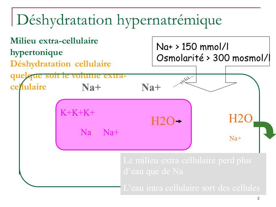 8 Déshydratation hypernatrémique Milieu extra-cellulaire hypertonique Déshydratation cellulaire quelque soit le volume extra- cellulaire Na+ > 150 mmol/l Osmolarité > 300 mosmol/l H2O Na+ K+K+K+ Na+ Le milieu extra cellulaire perd plus deau que de Na Leau intra cellulaire sort des cellules H2O Na+