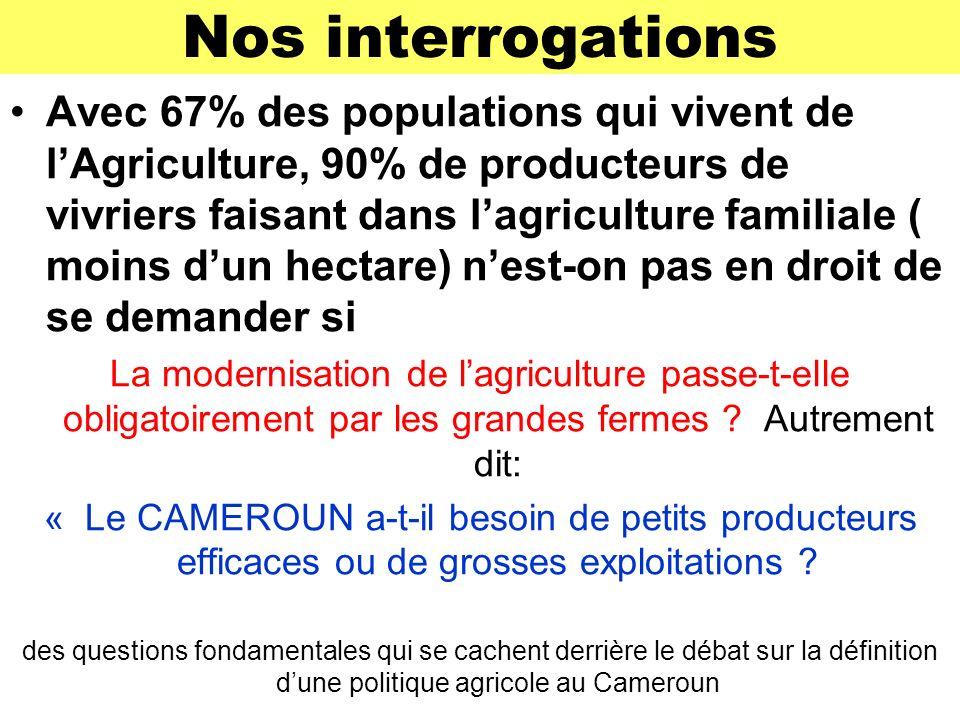 Nos interrogations Avec 67% des populations qui vivent de lAgriculture, 90% de producteurs de vivriers faisant dans lagriculture familiale ( moins dun hectare) nest-on pas en droit de se demander si La modernisation de lagriculture passe-t-elle obligatoirement par les grandes fermes .