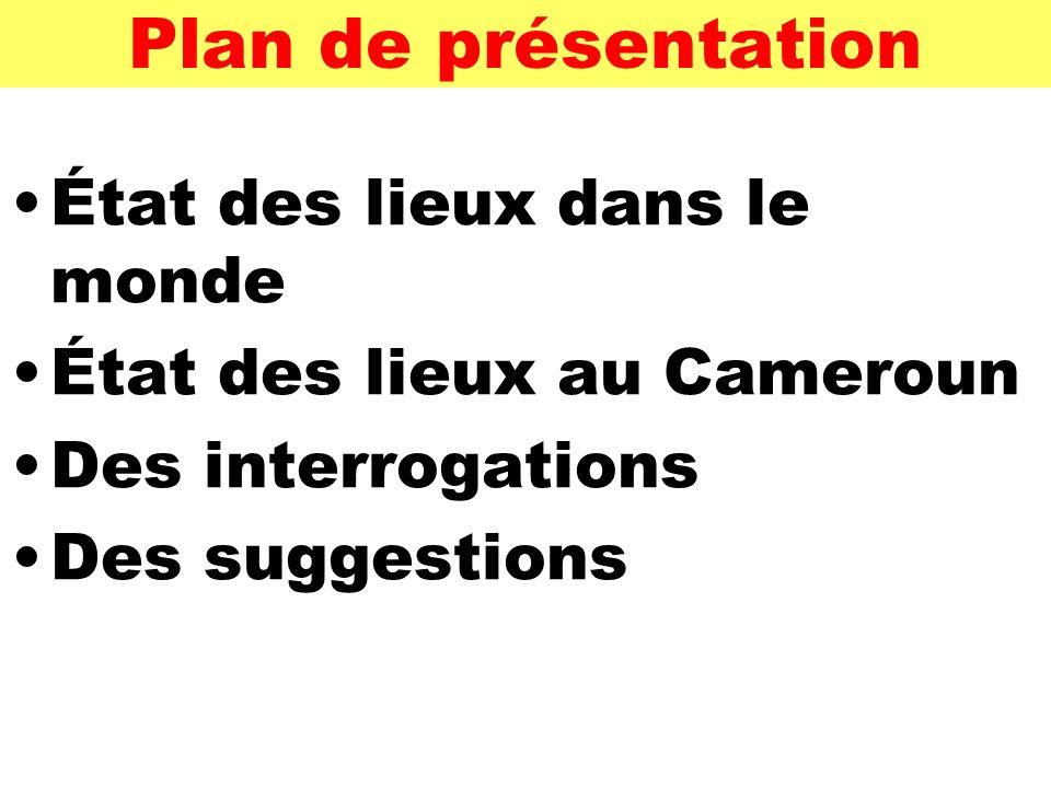 Plan de présentation État des lieux dans le monde État des lieux au Cameroun Des interrogations Des suggestions