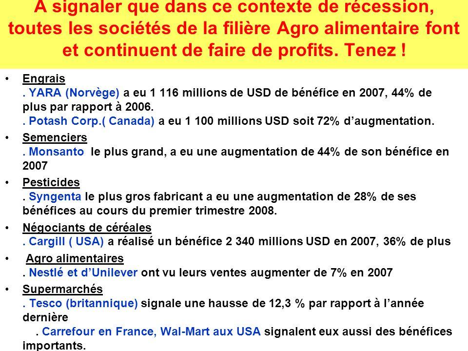 A signaler que dans ce contexte de récession, toutes les sociétés de la filière Agro alimentaire font et continuent de faire de profits.