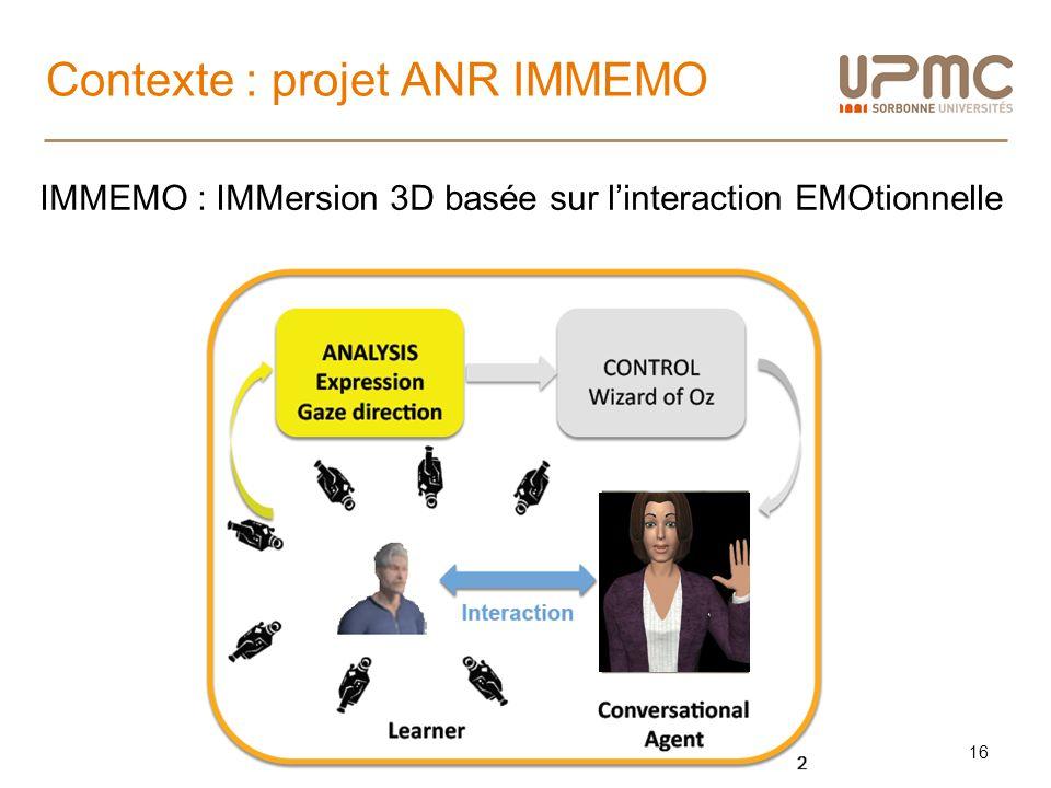 Contexte : projet ANR IMMEMO 16 IMMEMO : IMMersion 3D basée sur linteraction EMOtionnelle