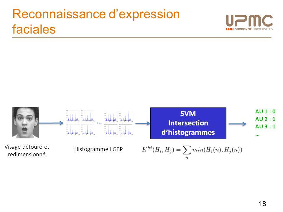 Reconnaissance dexpression faciales Visage détouré et redimensionné Histogramme LGBP SVM Intersection dhistogrammes AU 1 : 0 AU 2 : 1 AU 3 : 1 … 18