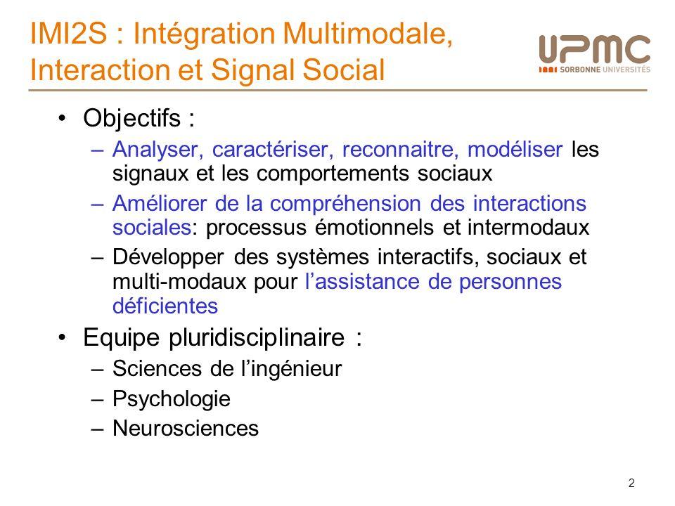 IMI2S : Intégration Multimodale, Interaction et Signal Social Objectifs : –Analyser, caractériser, reconnaitre, modéliser les signaux et les comportem