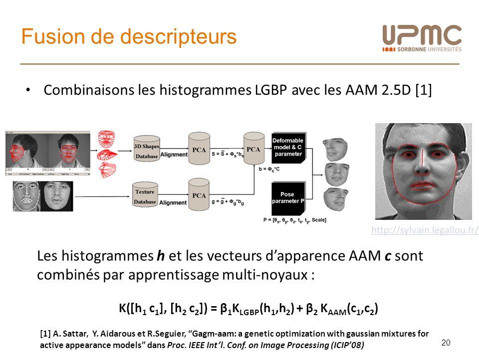 Fusion de descripteurs 20 Combinaisons les histogrammes LGBP avec les AAM 2.5D [1] [1] A. Sattar, Y. Aidarous et R.Seguier, Gagm-aam: a genetic optimi
