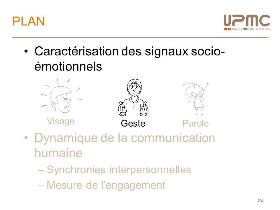 Caractérisation des signaux socio- émotionnels Dynamique de la communication humaine –Synchronies interpersonnelles –Mesure de lengagement PLAN 26 Vis