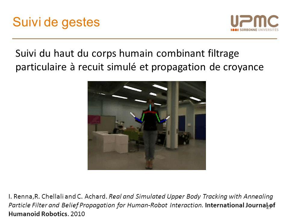 Suivi de gestes 27 Suivi du haut du corps humain combinant filtrage particulaire à recuit simulé et propagation de croyance I. Renna,R. Chellali and C