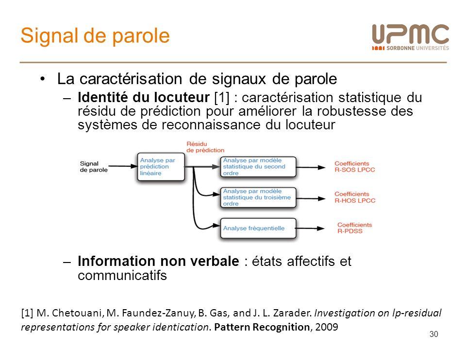 Signal de parole La caractérisation de signaux de parole –Identité du locuteur [1] : caractérisation statistique du résidu de prédiction pour améliore