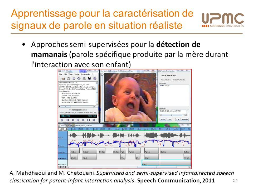 Apprentissage pour la caractérisation de signaux de parole en situation réaliste Approches semi-supervisées pour la détection de mamanais (parole spéc