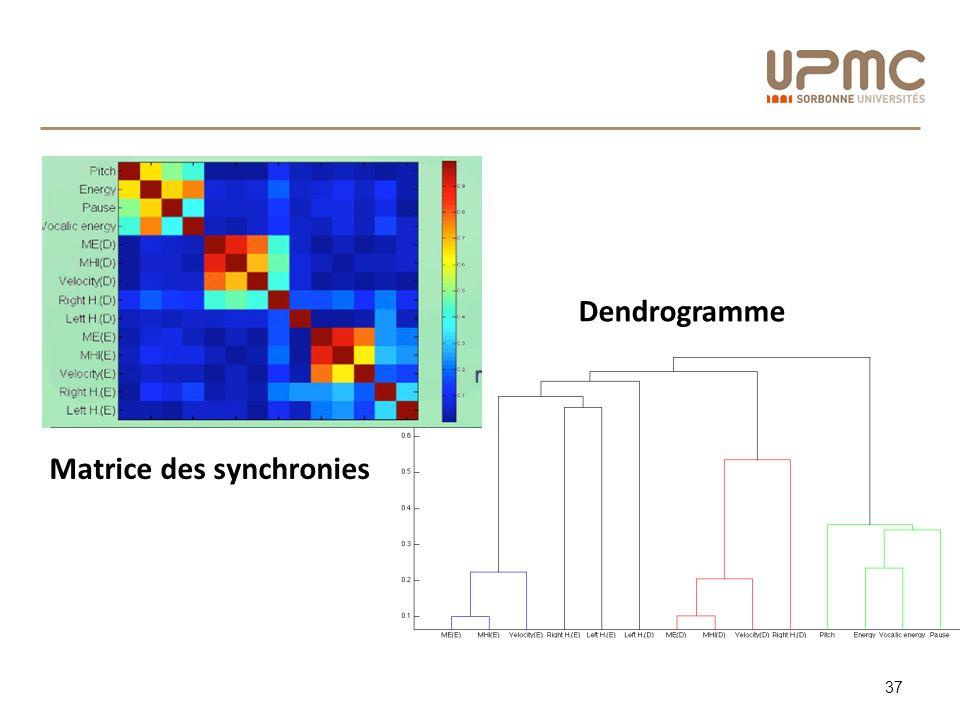 37 Matrice des synchronies Dendrogramme