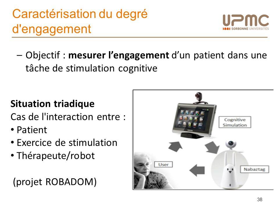 Caractérisation du degré d'engagement 38 –Objectif : mesurer lengagement dun patient dans une tâche de stimulation cognitive Situation triadique Cas d