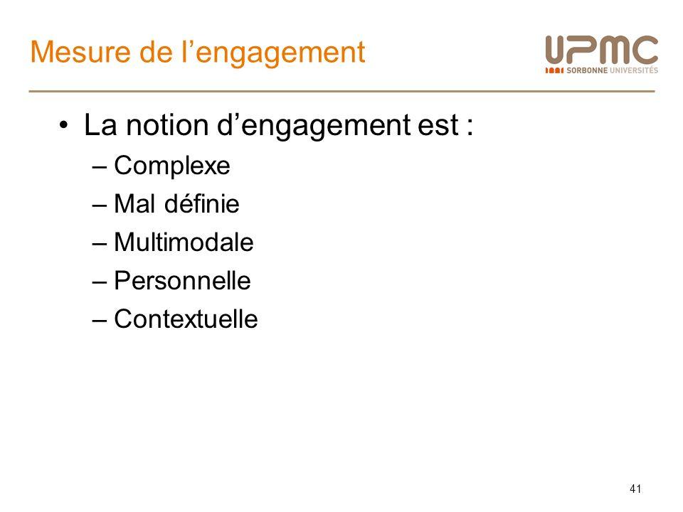 Mesure de lengagement La notion dengagement est : –Complexe –Mal définie –Multimodale –Personnelle –Contextuelle 41