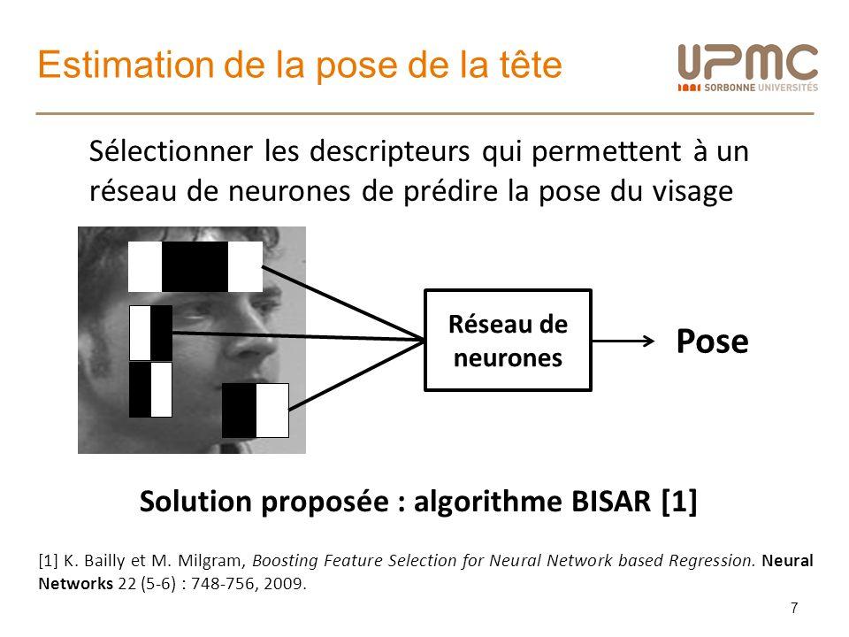 Estimation de la pose de la tête 7 Réseau de neurones Pose Solution proposée : algorithme BISAR [1] [1] K. Bailly et M. Milgram, Boosting Feature Sele