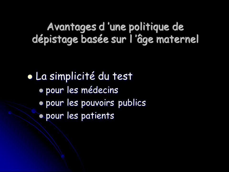 Avantages d une politique de dépistage basée sur l âge maternel La simplicité du test La simplicité du test pour les médecins pour les médecins pour l