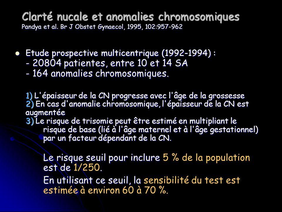 Clarté nucale et anomalies chromosomiques Pandya et al. Br J Obstet Gynaecol, 1995, 102:957-962 Etude prospective multicentrique (1992-1994) : - 20804