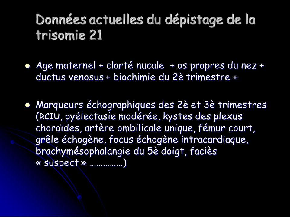 Données actuelles du dépistage de la trisomie 21 Age maternel + clarté nucale + os propres du nez + ductus venosus + biochimie du 2è trimestre + Age m
