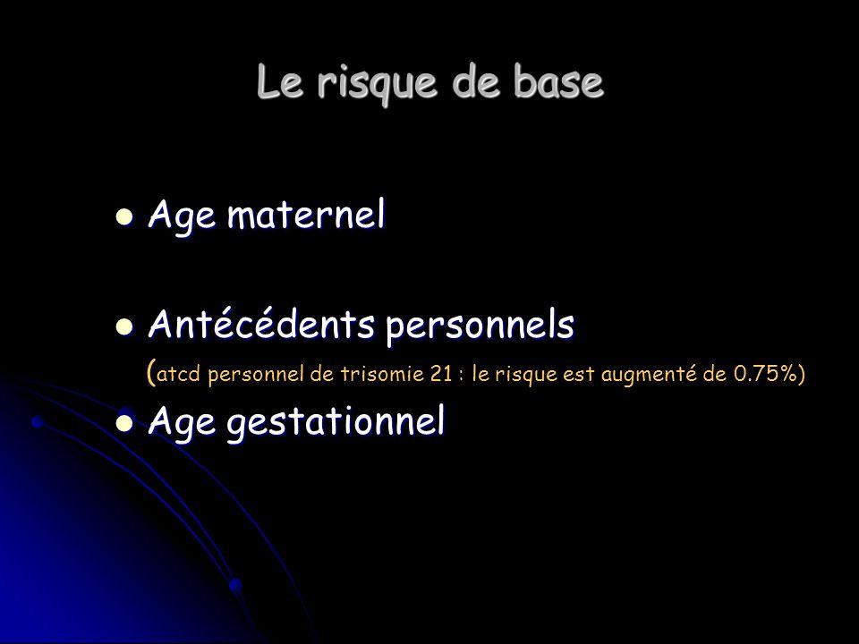 Le risque de base Age maternel Age maternel Antécédents personnels Antécédents personnels ( atcd personnel de trisomie 21 : le risque est augmenté de