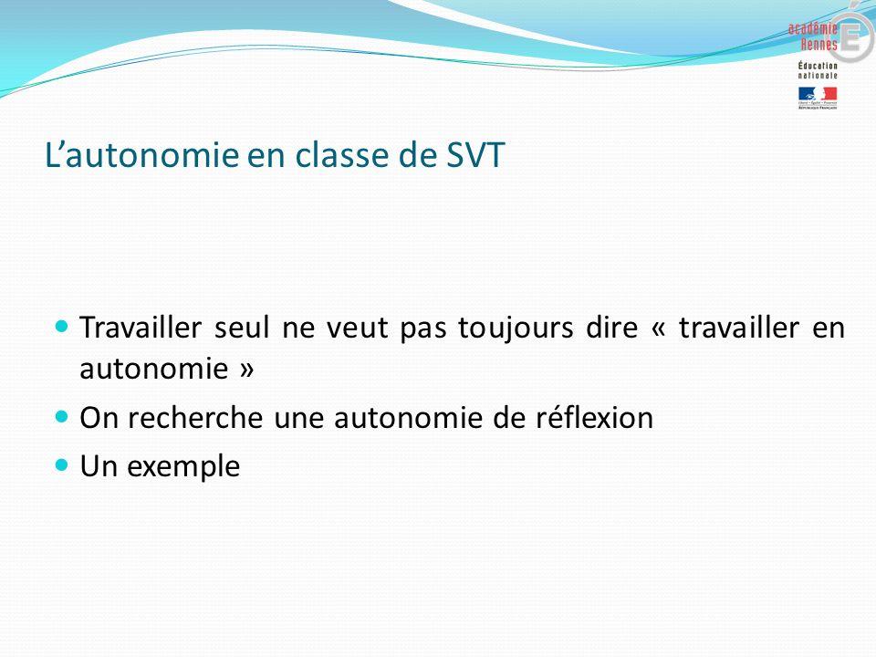Lautonomie en classe de SVT Travailler seul ne veut pas toujours dire « travailler en autonomie » On recherche une autonomie de réflexion Un exemple