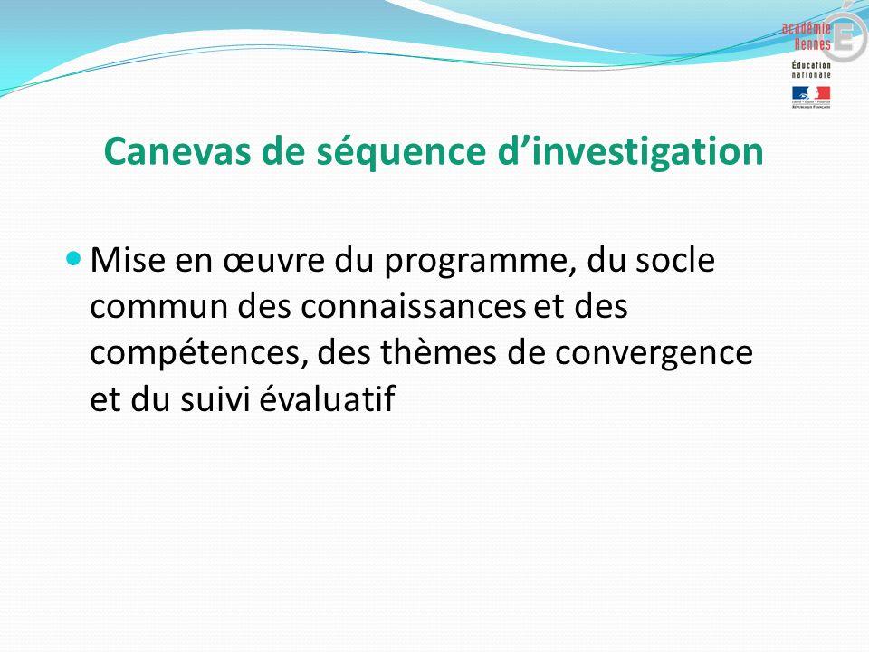 Canevas de séquence dinvestigation Mise en œuvre du programme, du socle commun des connaissances et des compétences, des thèmes de convergence et du suivi évaluatif