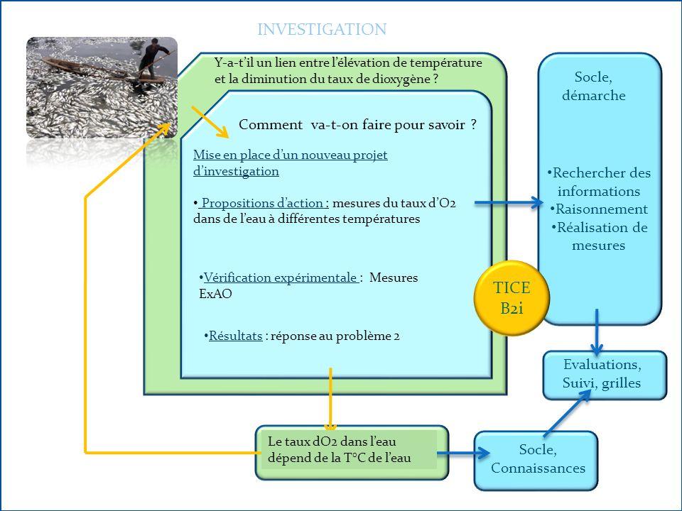 La répartition des êtres vivants et respiration INVESTIGATION Socle, démarche Socle, Connaissances Evaluations, Suivi, grilles Pourquoi les poissons sont morts .