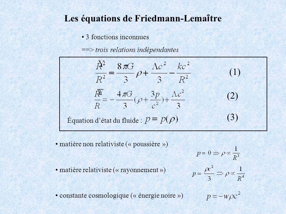 3 fonctions inconnues ==> trois relations indépendantes Les équations de Friedmann-Lema î tre Équation détat du fluide : matière non relativiste (« po