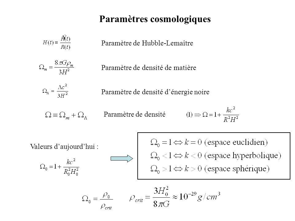 Paramètres cosmologiques Paramètre de Hubble-LemaîtreParamètre de densité de matière Paramètre de densité dénergie noire Paramètre de densité Valeurs