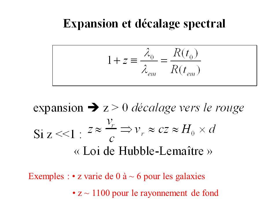 Exemples : z varie de 0 à ~ 6 pour les galaxies z ~ 1100 pour le rayonnement de fond