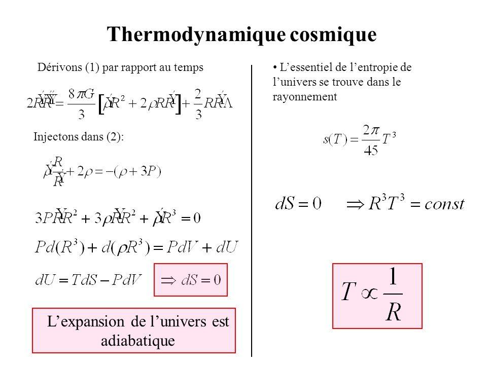 Thermodynamique cosmique Dérivons (1) par rapport au temps Injectons dans (2): Lexpansion de lunivers est adiabatique Lessentiel de lentropie de luniv