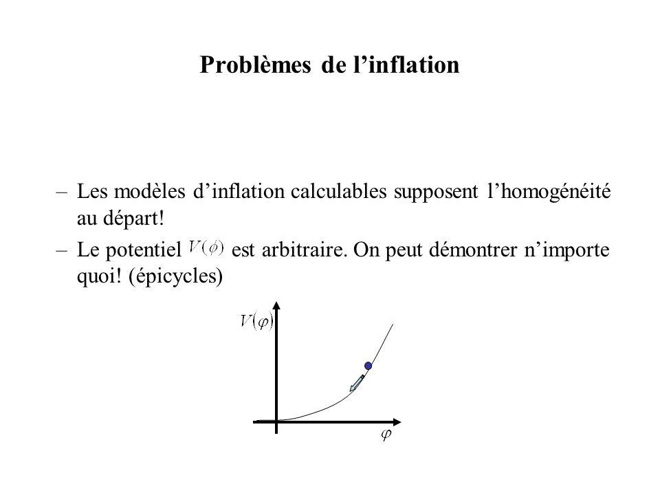 Problèmes de linflation –Les modèles dinflation calculables supposent lhomogénéité au départ! –Le potentiel est arbitraire. On peut démontrer nimporte