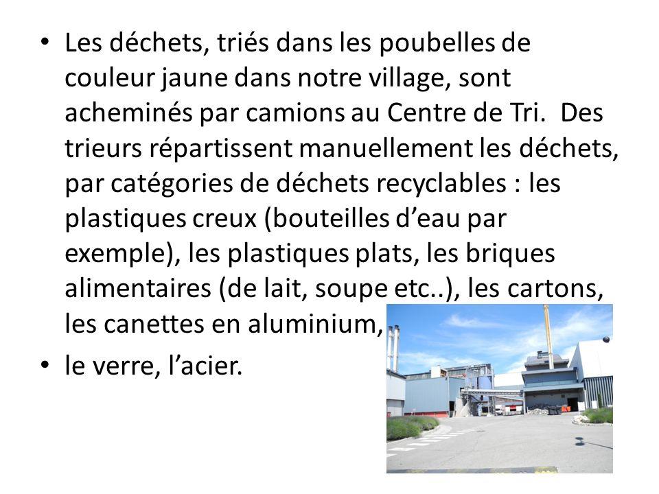 Les déchets, triés dans les poubelles de couleur jaune dans notre village, sont acheminés par camions au Centre de Tri. Des trieurs répartissent manue