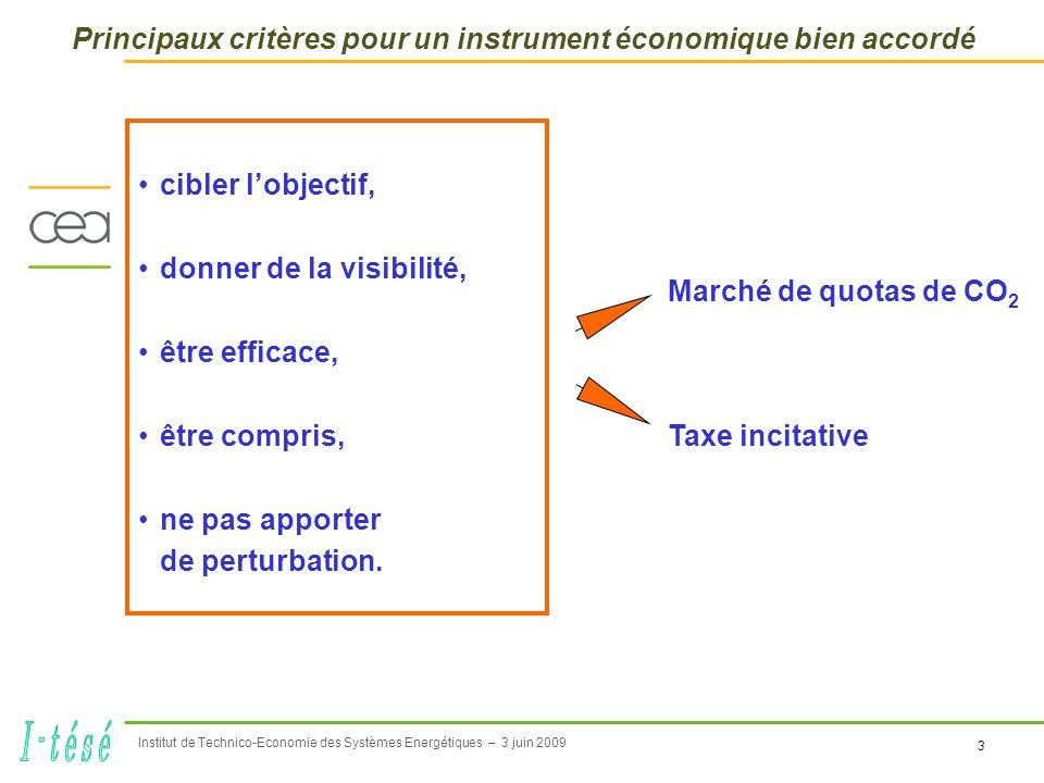 3 Institut de Technico-Economie des Systèmes Energétiques – 3 juin 2009 Principaux critères pour un instrument économique bien accordé cibler lobjectif, donner de la visibilité, être efficace, être compris, ne pas apporter de perturbation.