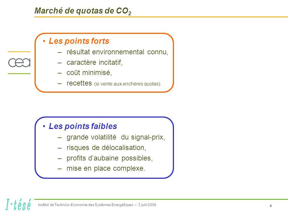4 Institut de Technico-Economie des Systèmes Energétiques – 3 juin 2009 Marché de quotas de CO 2 Les points forts –résultat environnemental connu, –caractère incitatif, –coût minimisé, –recettes (si vente aux enchères quotas).