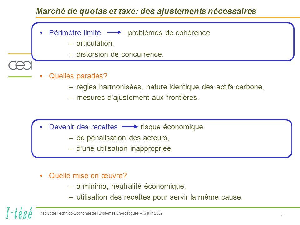 7 Institut de Technico-Economie des Systèmes Energétiques – 3 juin 2009 Marché de quotas et taxe: des ajustements nécessaires Périmètre limité problèmes de cohérence –articulation, –distorsion de concurrence.