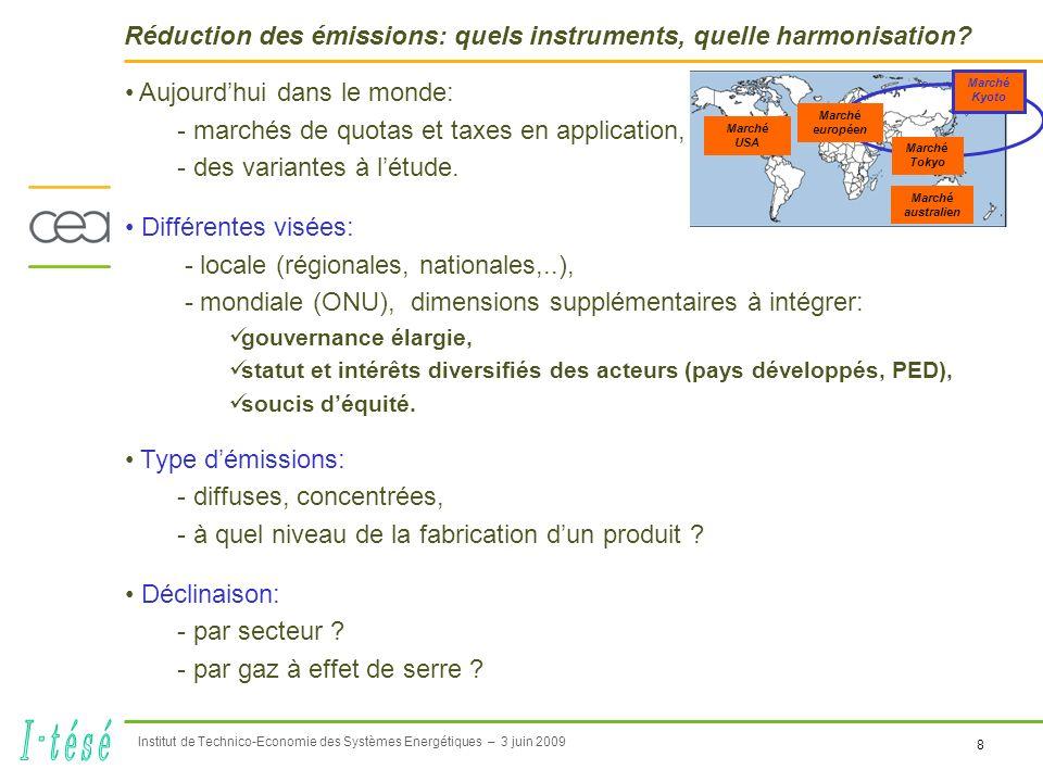 8 Institut de Technico-Economie des Systèmes Energétiques – 3 juin 2009 Réduction des émissions: quels instruments, quelle harmonisation.