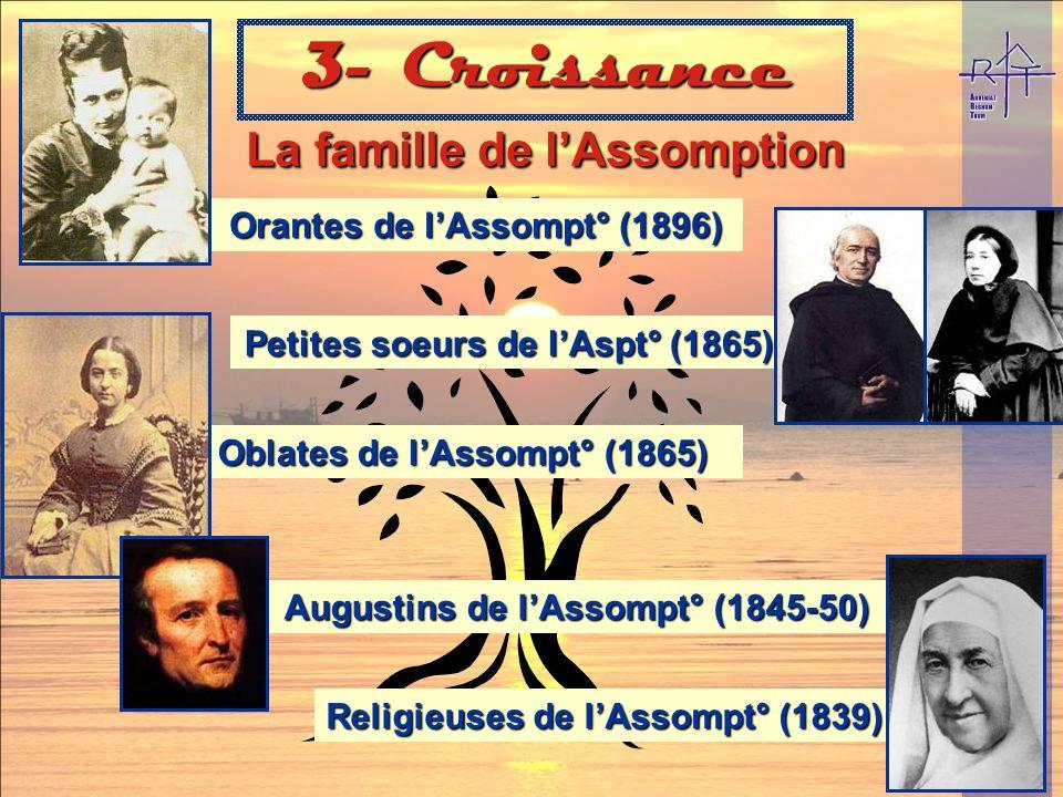 Augustins (un prénom distinctif): -Affinité spirituelle avec St Augustin -Assomption traduisait mal le Christocentrisme inné du fondateur -Une vie fra
