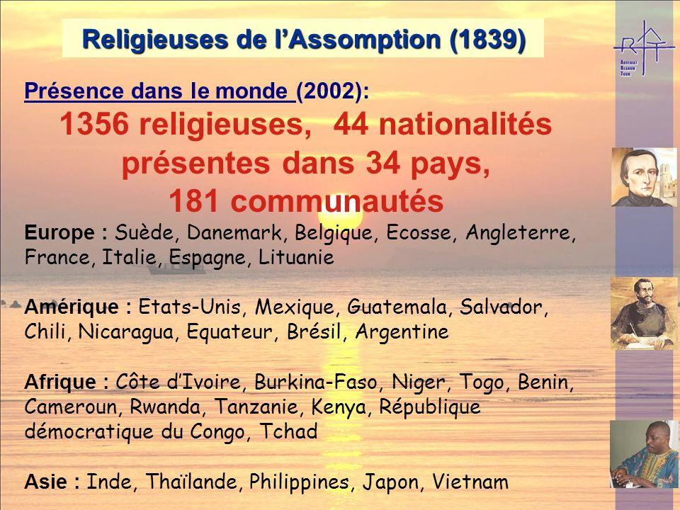 Religieuses de lAssomption (1839) Œuvres principales : Etablissements denseignements Centres spirituels Education de la foi sous toutes ses formes.