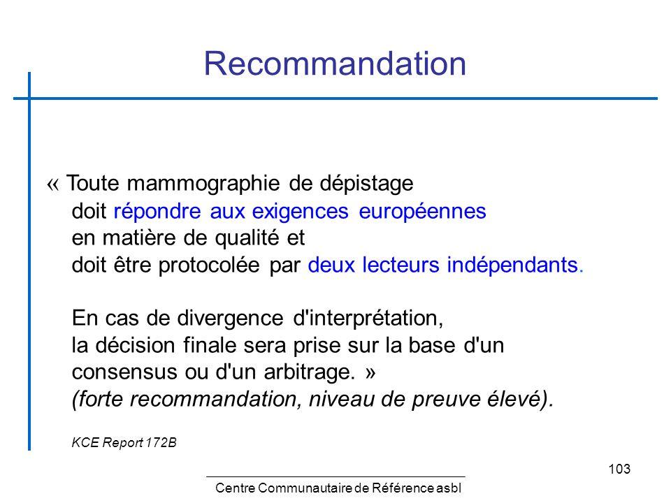 103 Recommandation Centre Communautaire de Référence asbl « Toute mammographie de dépistage doit répondre aux exigences européennes en matière de qual
