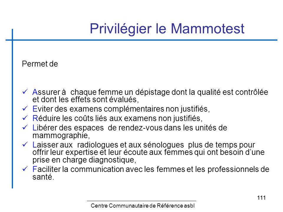 111 Privilégier le Mammotest Permet de Assurer à chaque femme un dépistage dont la qualité est contrôlée et dont les effets sont évalués, Eviter des e