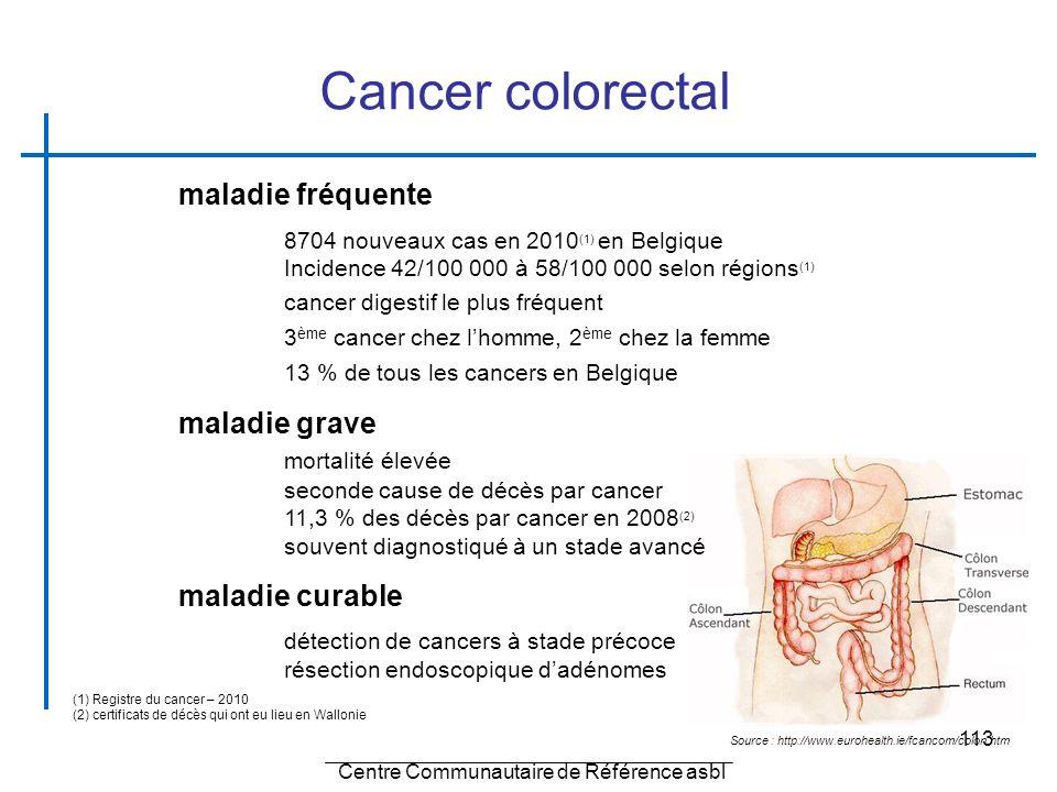 113 Source : http://www.eurohealth.ie/fcancom/colon.htm maladie fréquente 8704 nouveaux cas en 2010 (1) en Belgique Incidence 42/100 000 à 58/100 000