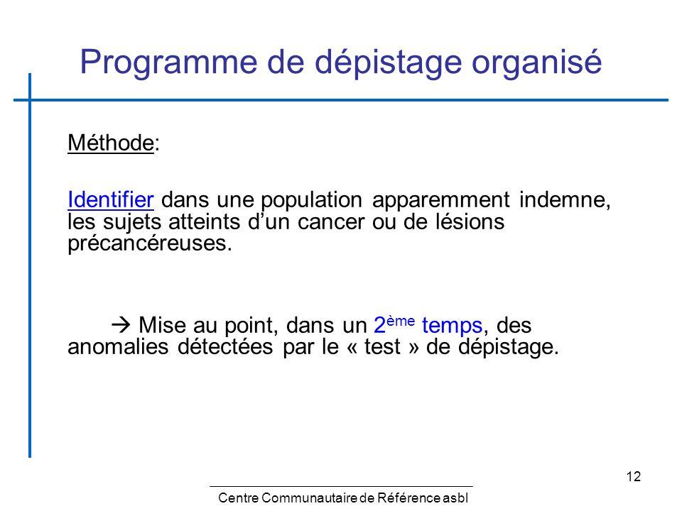 12 Programme de dépistage organisé Méthode: Identifier dans une population apparemment indemne, les sujets atteints dun cancer ou de lésions précancér