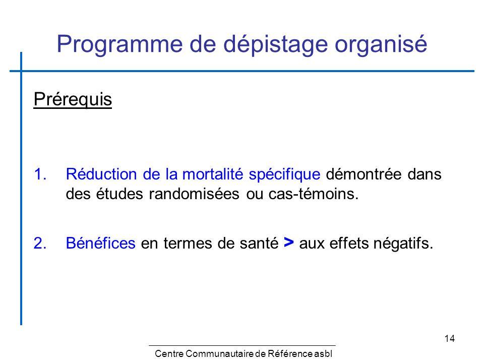 14 Programme de dépistage organisé Prérequis 1.Réduction de la mortalité spécifique démontrée dans des études randomisées ou cas-témoins. 2.Bénéfices