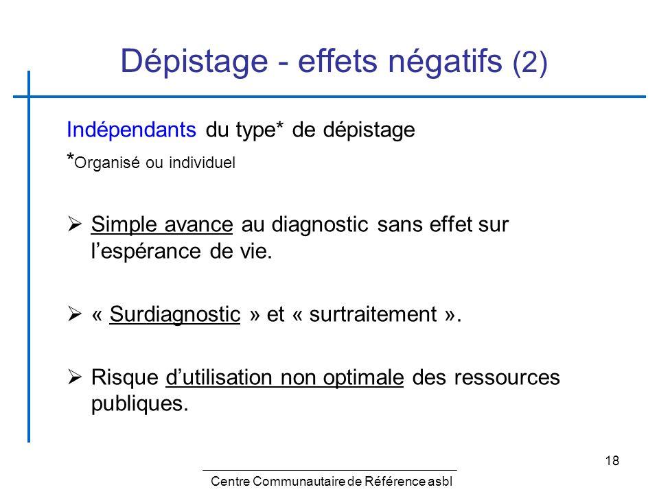 18 Dépistage - effets négatifs (2) Indépendants du type* de dépistage * Organisé ou individuel Simple avance au diagnostic sans effet sur lespérance d