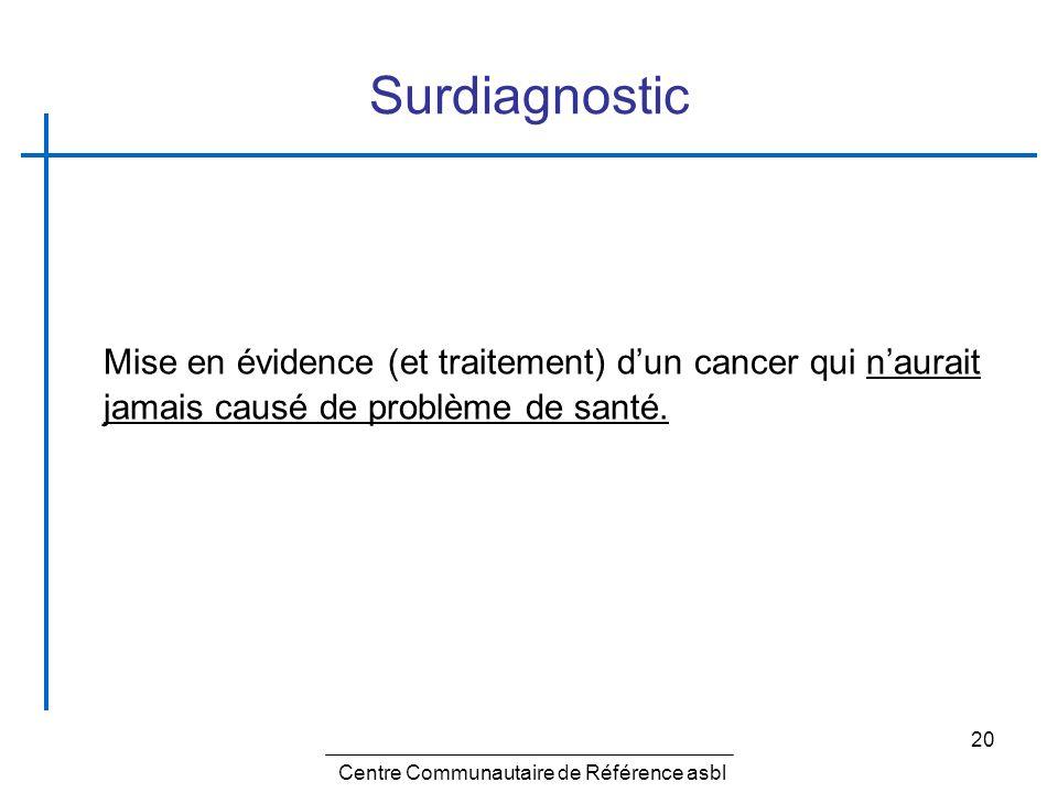 20 Surdiagnostic Mise en évidence (et traitement) dun cancer qui naurait jamais causé de problème de santé. Centre Communautaire de Référence asbl