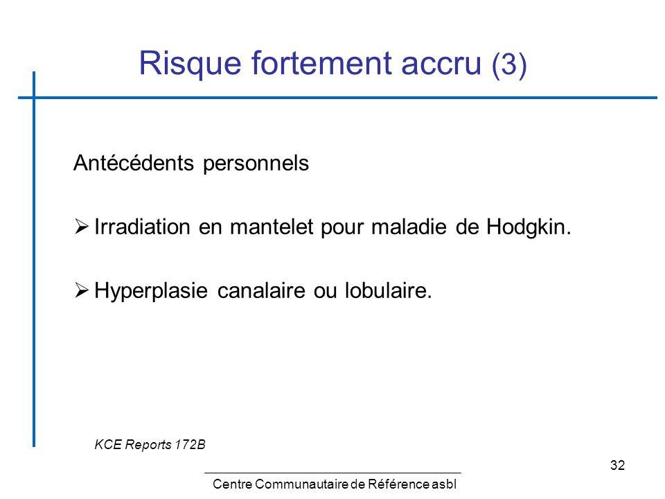 32 Risque fortement accru (3) Antécédents personnels Irradiation en mantelet pour maladie de Hodgkin. Hyperplasie canalaire ou lobulaire. KCE Reports