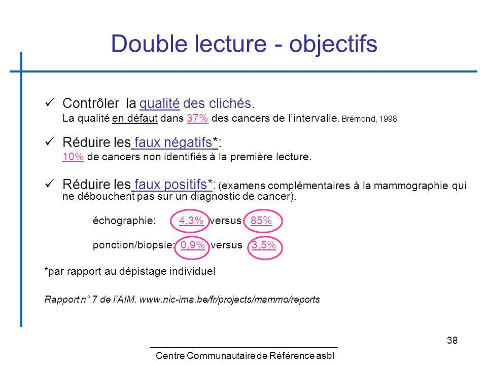 38 Double lecture - objectifs Contrôler la qualité des clichés. La qualité en défaut dans 37% des cancers de lintervalle. Brémond, 1998 Réduire les fa
