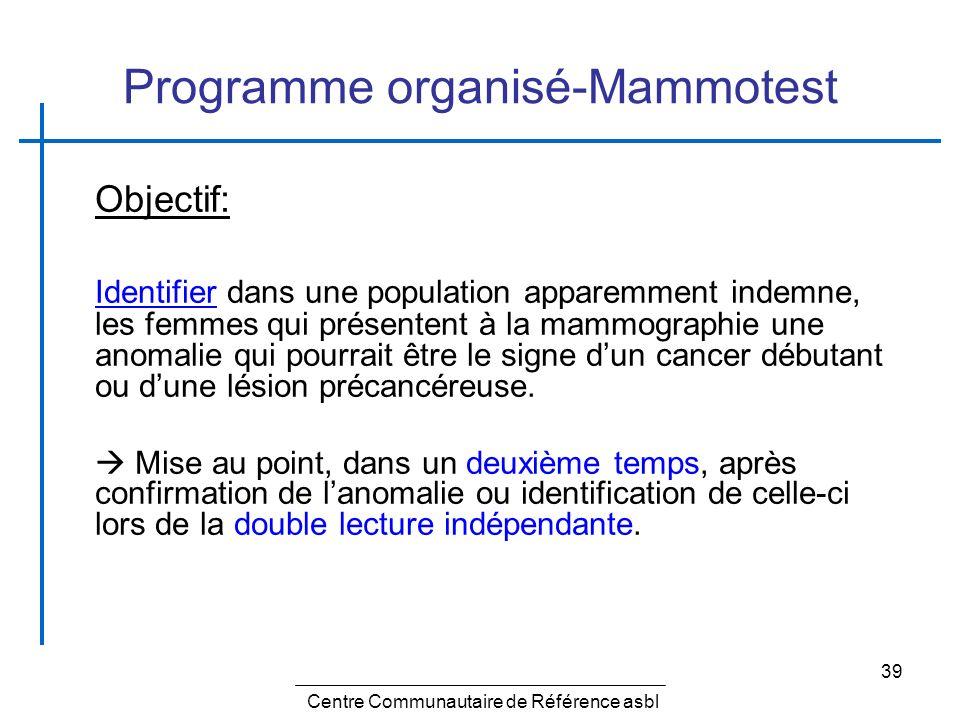 39 Programme organisé-Mammotest Objectif: Identifier dans une population apparemment indemne, les femmes qui présentent à la mammographie une anomalie