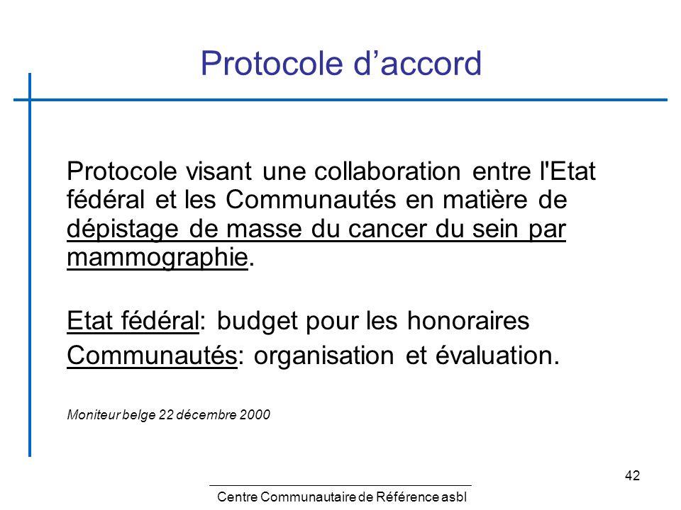 Centre Communautaire de Référence 42 Protocole daccord Protocole visant une collaboration entre l'Etat fédéral et les Communautés en matière de dépist