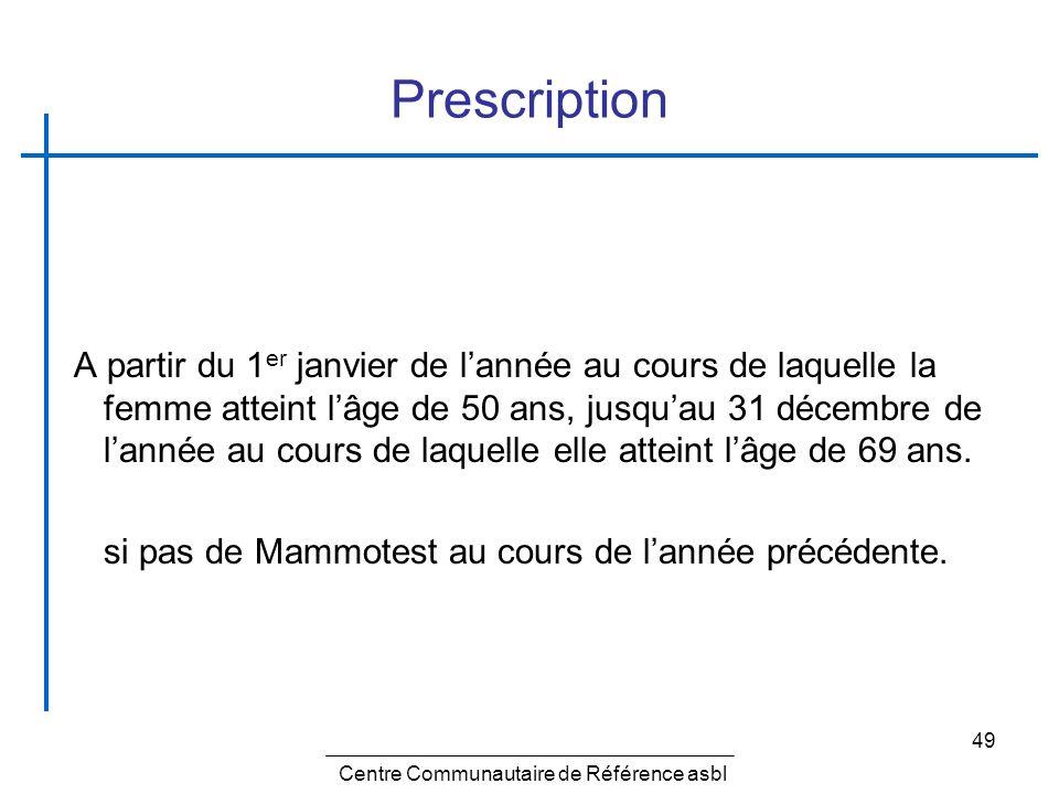 49 Prescription A partir du 1 er janvier de lannée au cours de laquelle la femme atteint lâge de 50 ans, jusquau 31 décembre de lannée au cours de laq