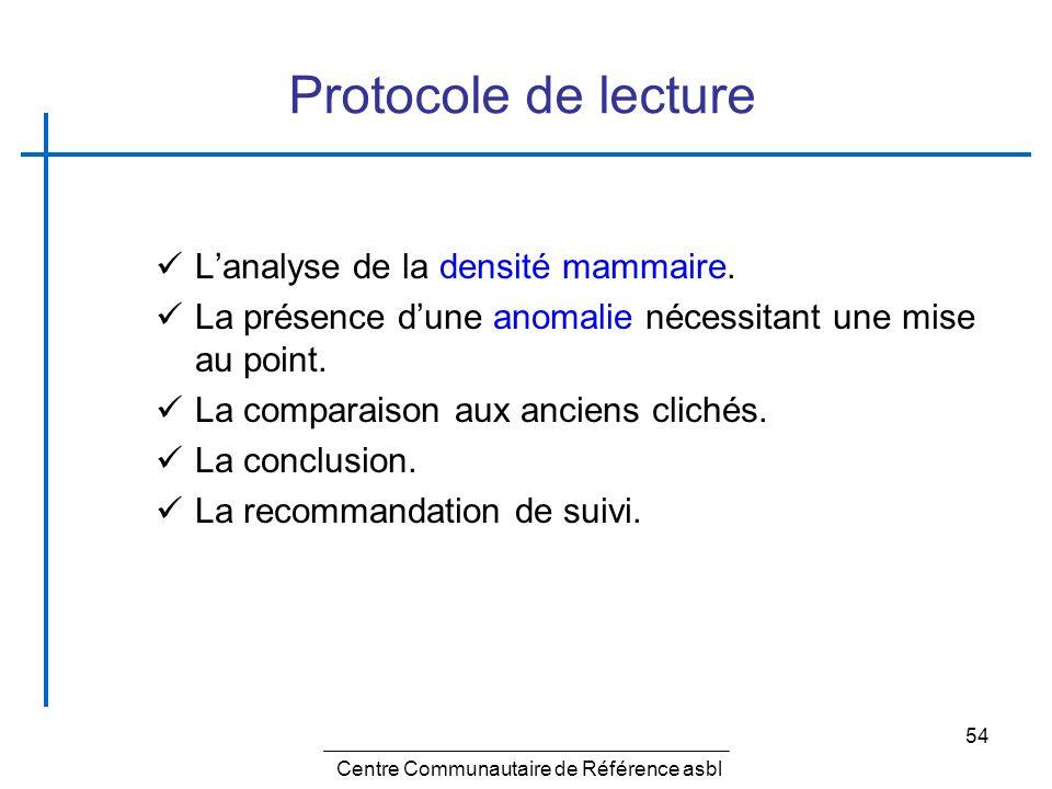 54 Protocole de lecture Lanalyse de la densité mammaire. La présence dune anomalie nécessitant une mise au point. La comparaison aux anciens clichés.