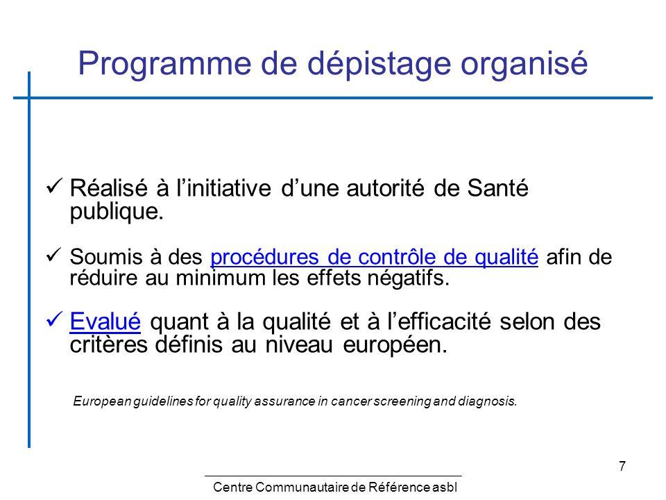 7 Programme de dépistage organisé Réalisé à linitiative dune autorité de Santé publique. Soumis à des procédures de contrôle de qualité afin de réduir