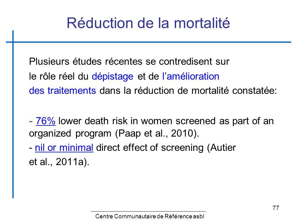 77 Réduction de la mortalité Plusieurs études récentes se contredisent sur le rôle réel du dépistage et de lamélioration des traitements dans la réduc